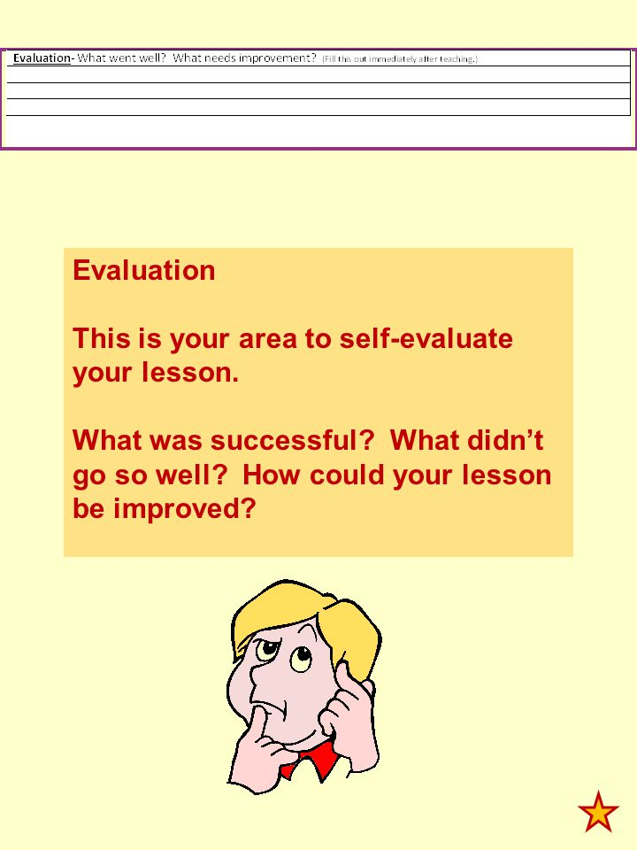 Evaluation This is your area to self-evaluate your lesson.
