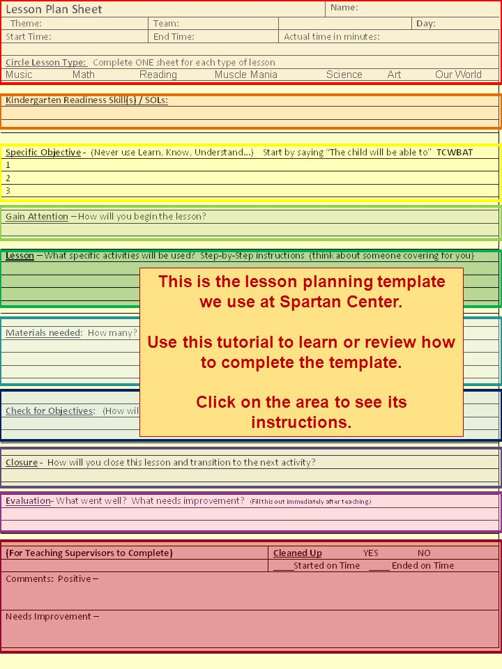 This is the lesson planning template we use at Spartan Center.