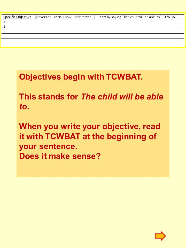 Objectives begin with TCWBAT.