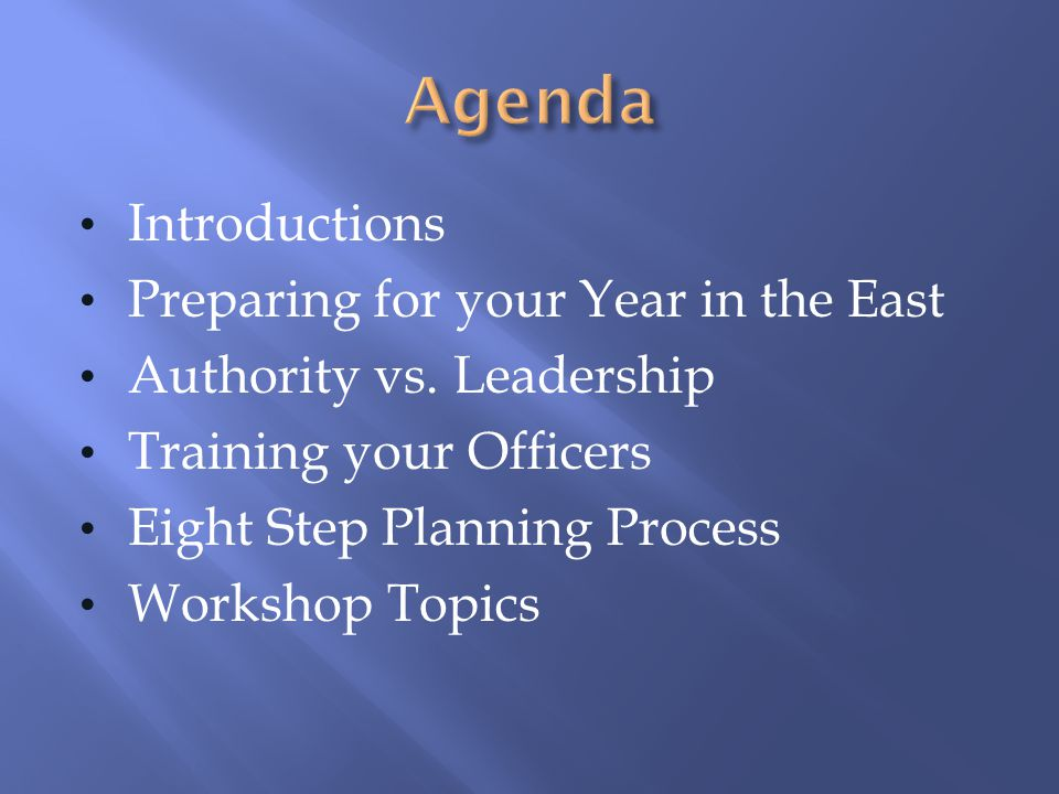 Agenda Introductions Preparing for your Year in the East
