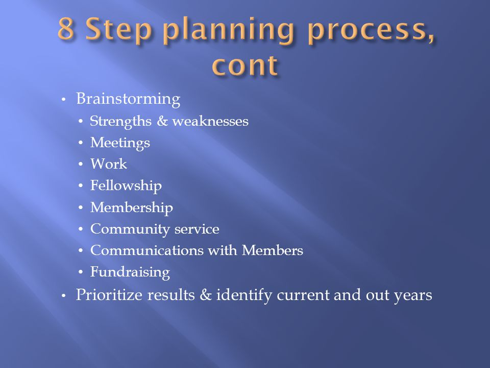 8 Step planning process, cont