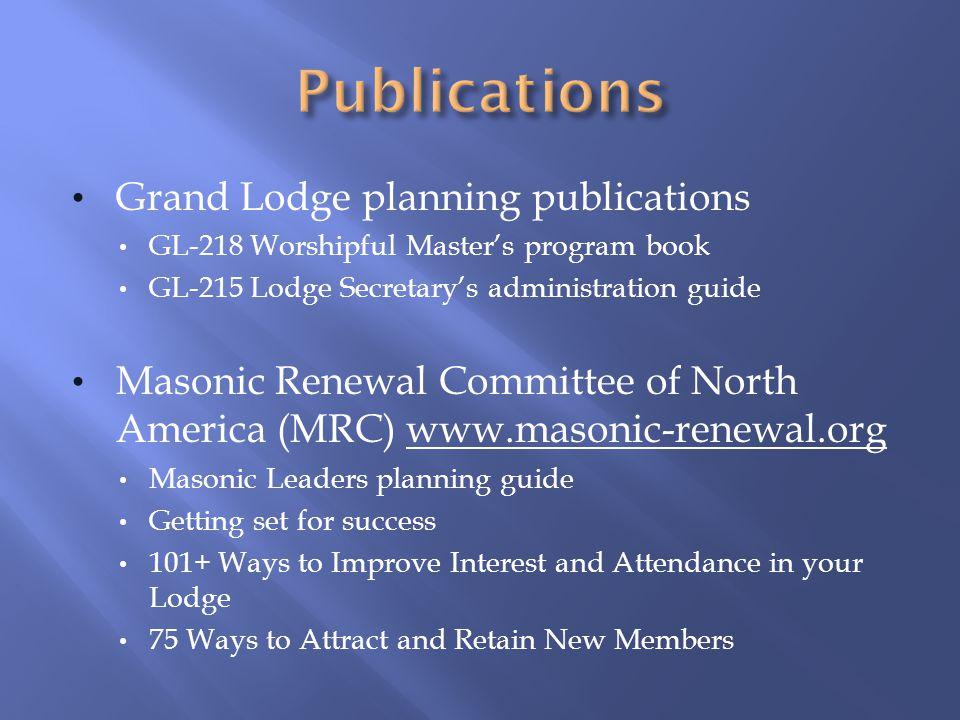 Publications Grand Lodge planning publications