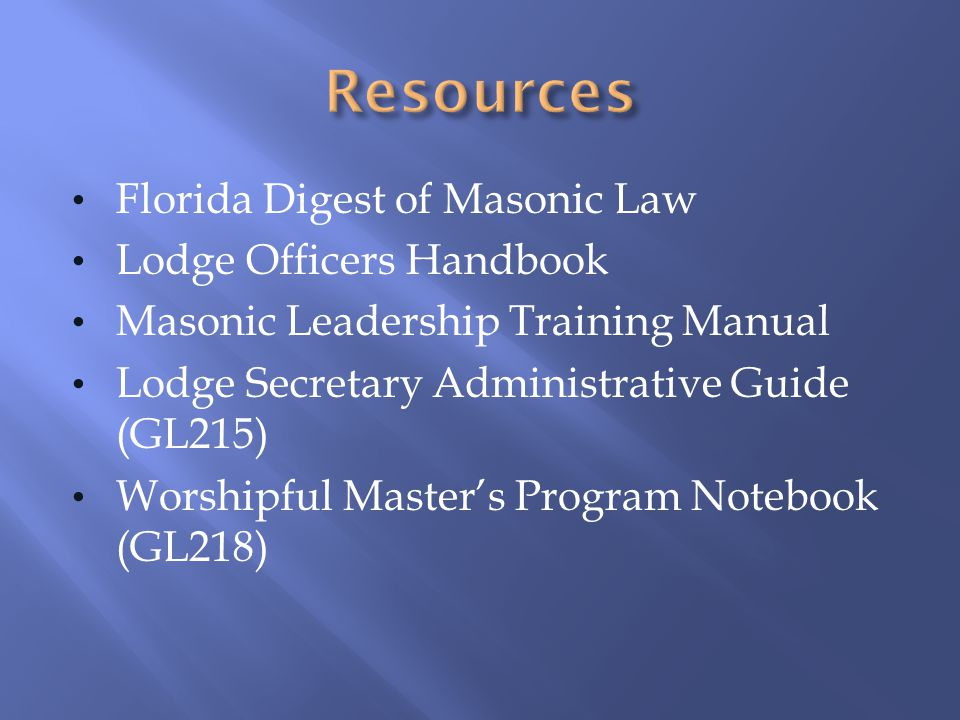 Resources Florida Digest of Masonic Law Lodge Officers Handbook