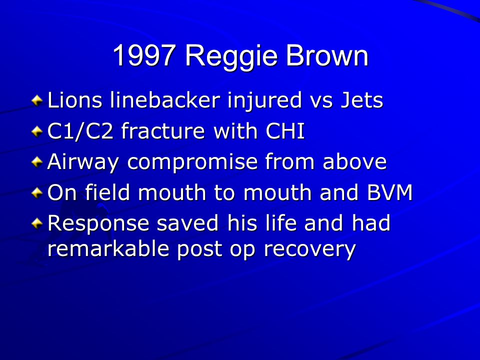 1997 Reggie Brown Lions linebacker injured vs Jets