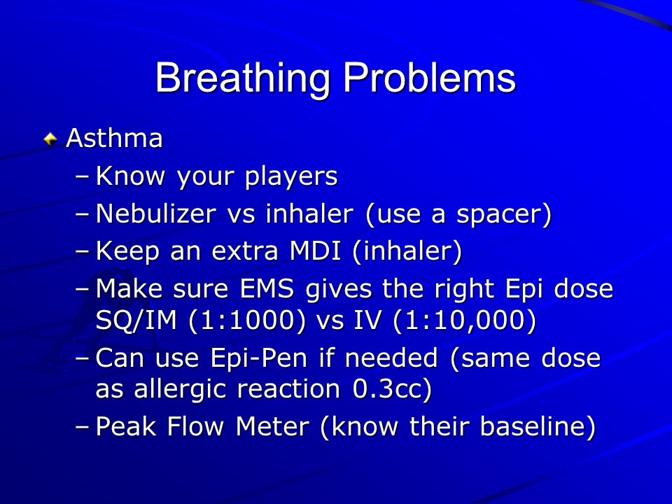 Breathing Problems Asthma Know your players