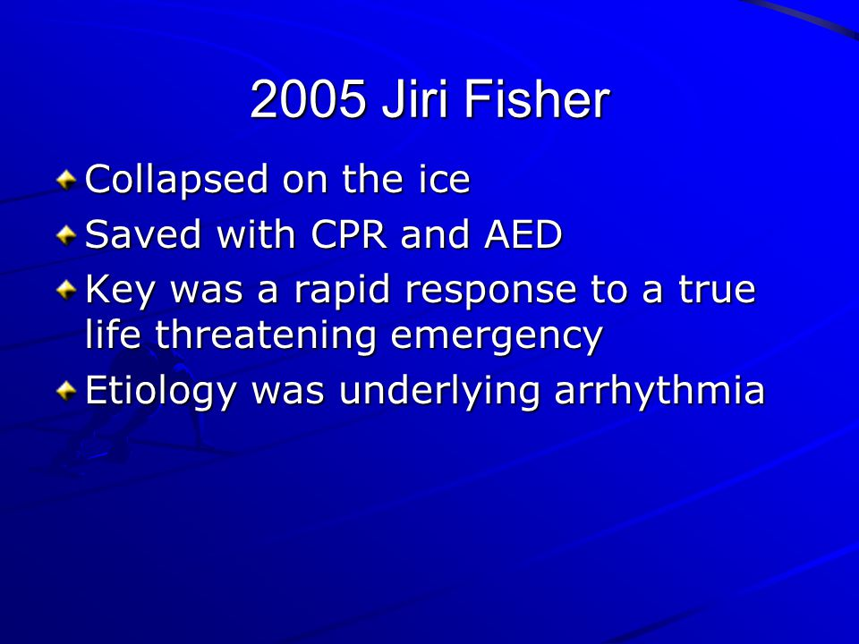 2005 Jiri Fisher Collapsed on the ice Saved with CPR and AED
