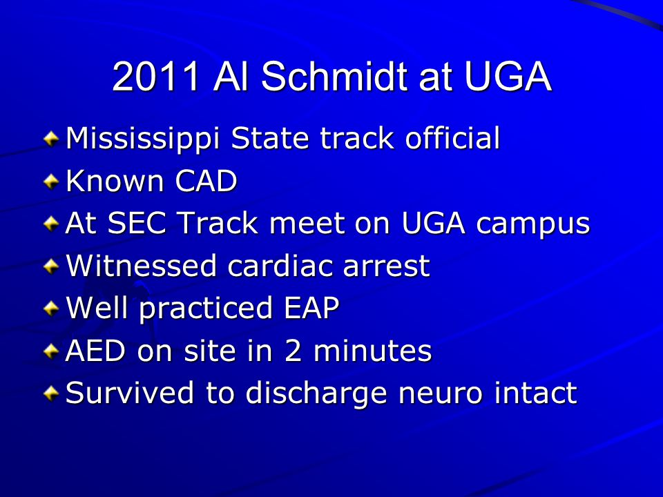2011 Al Schmidt at UGA Mississippi State track official Known CAD