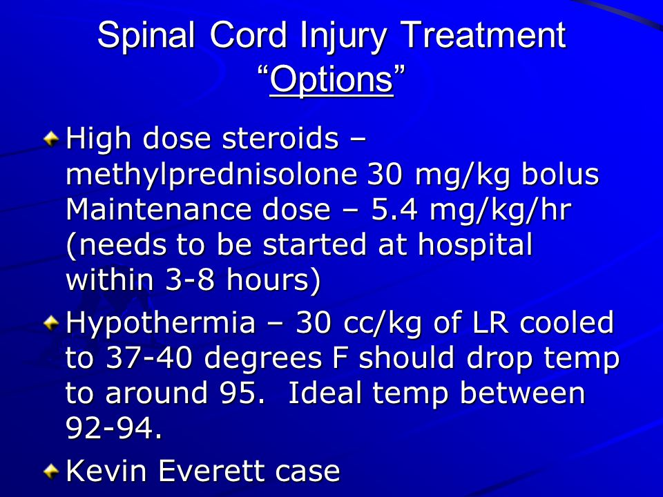 Spinal Cord Injury Treatment Options