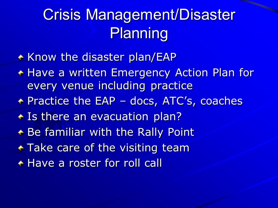 Crisis Management/Disaster Planning