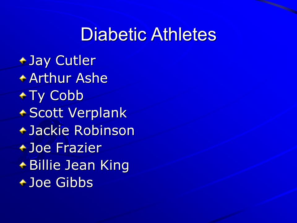 Diabetic Athletes Jay Cutler Arthur Ashe Ty Cobb Scott Verplank