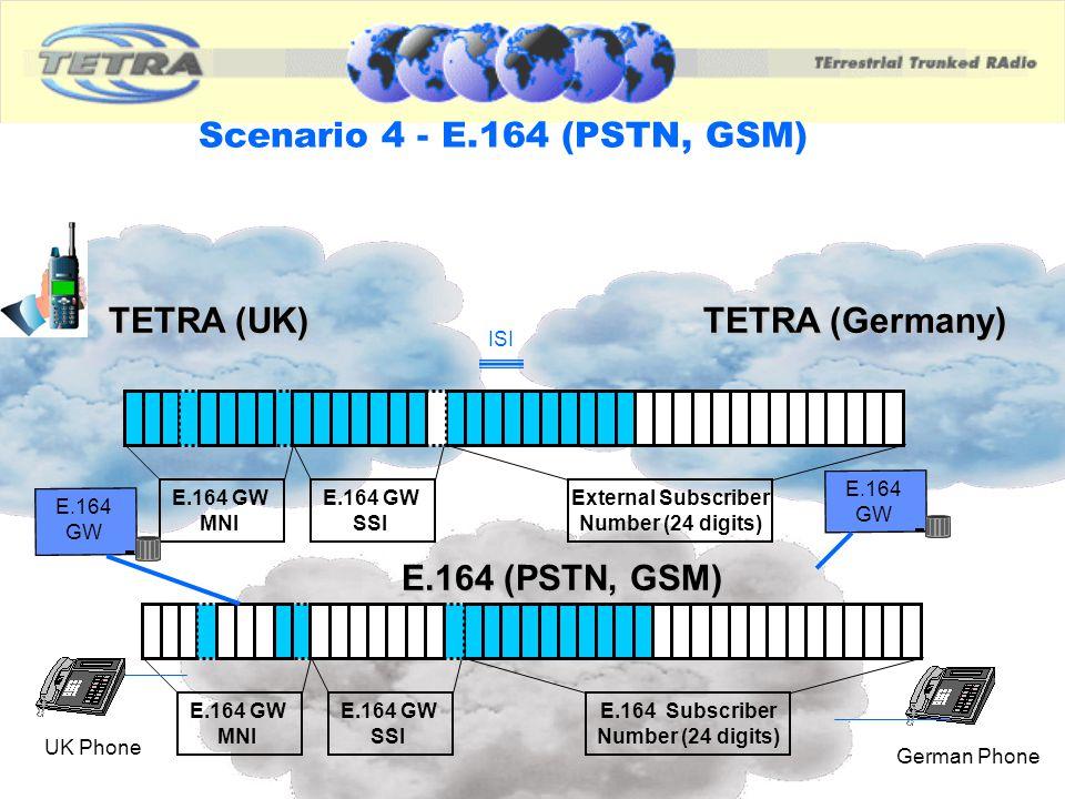 Scenario 4 - E.164 (PSTN, GSM) TETRA (UK) TETRA (Germany)