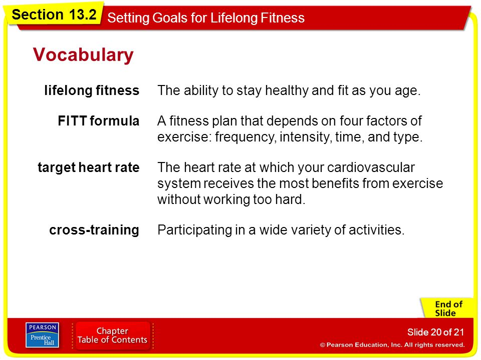 Vocabulary lifelong fitness