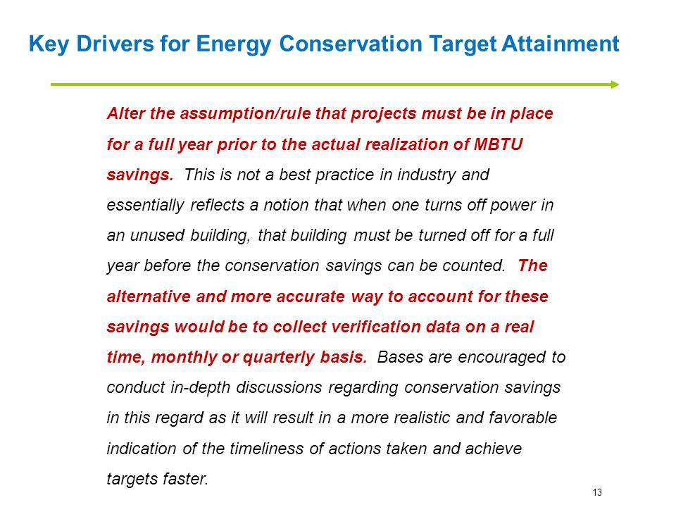 Key Drivers for Energy Conservation Target Attainment