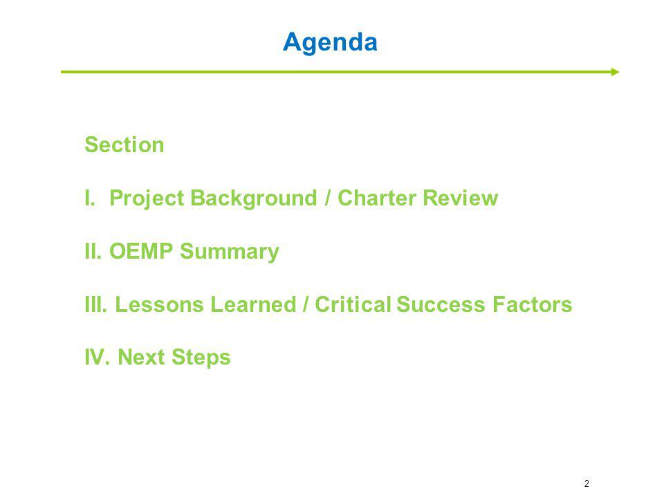 Agenda Section Project Background / Charter Review OEMP Summary