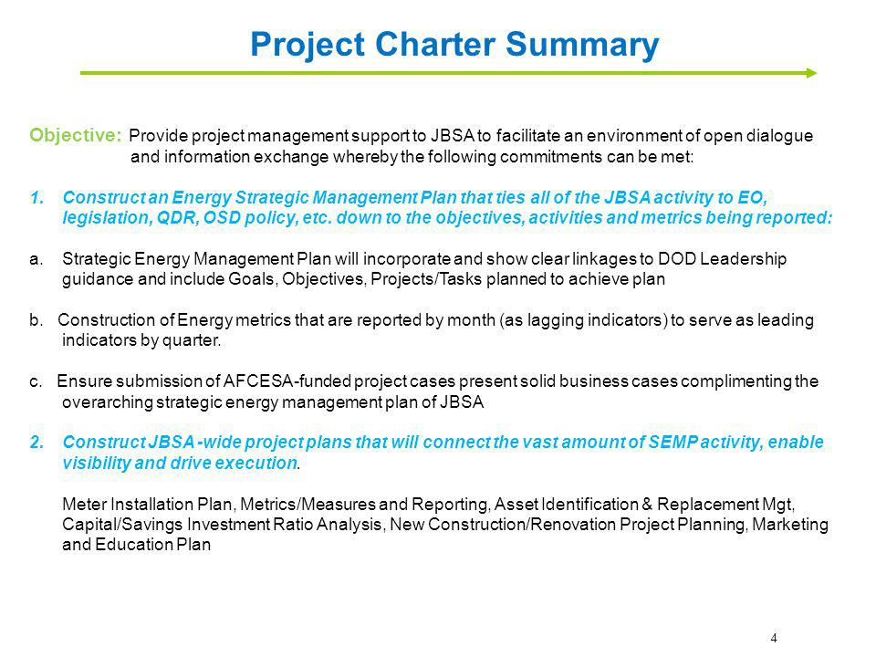 Project Charter Summary