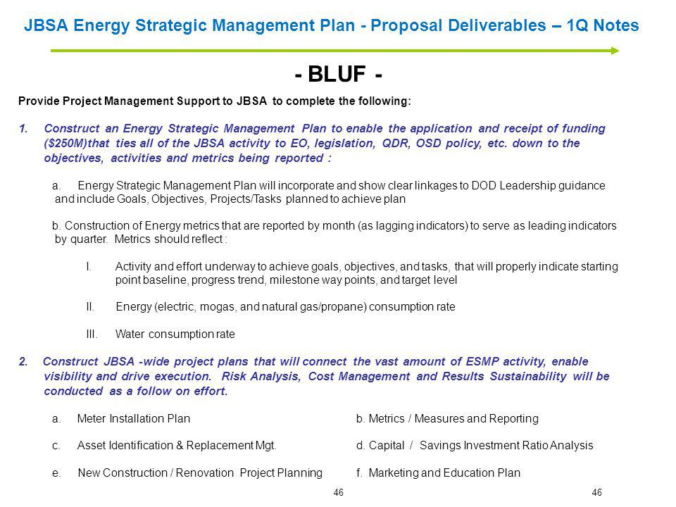 JBSA Energy Strategic Management Plan - Proposal Deliverables – 1Q Notes