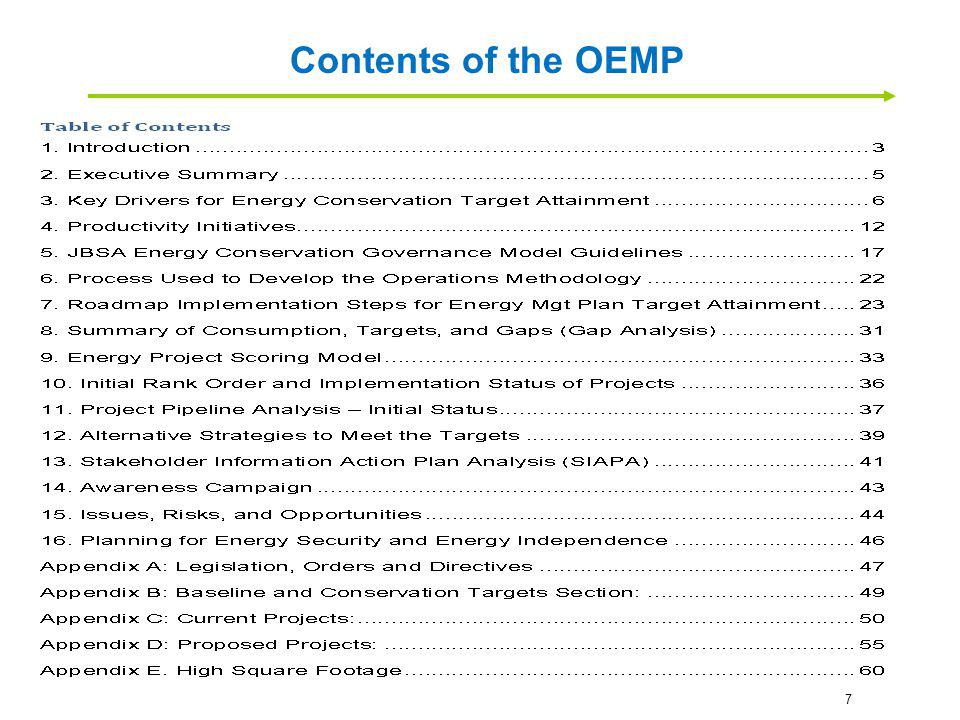 Contents of the OEMP 7