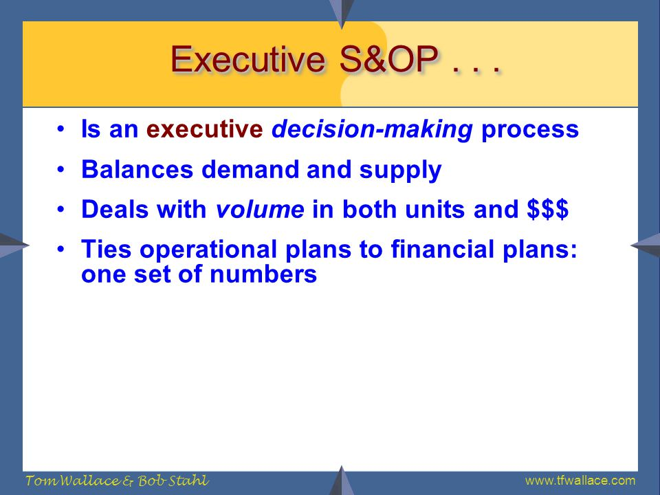 Executive S&OP . . . Is an executive decision-making process
