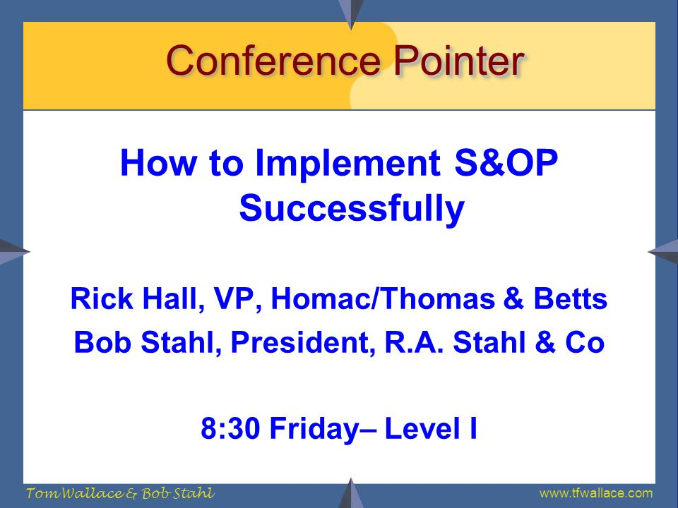 Conference Pointer How to Implement S&OP Successfully