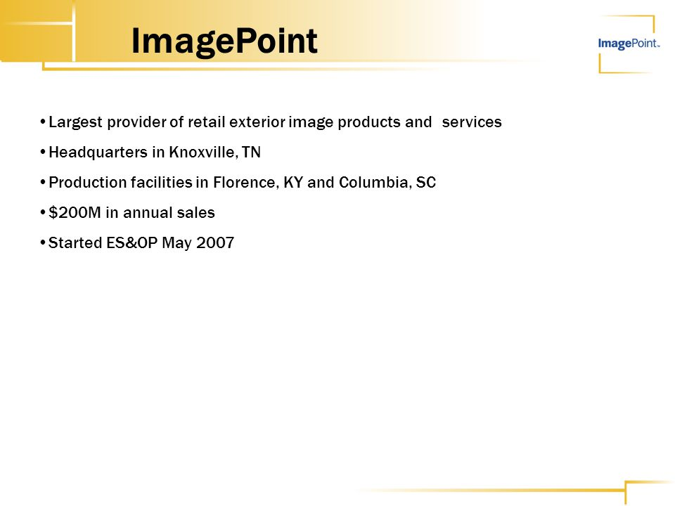 ImagePoint Largest provider of retail exterior image products and services. Headquarters in Knoxville, TN.