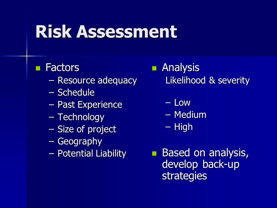 Risk Assessment Factors Analysis