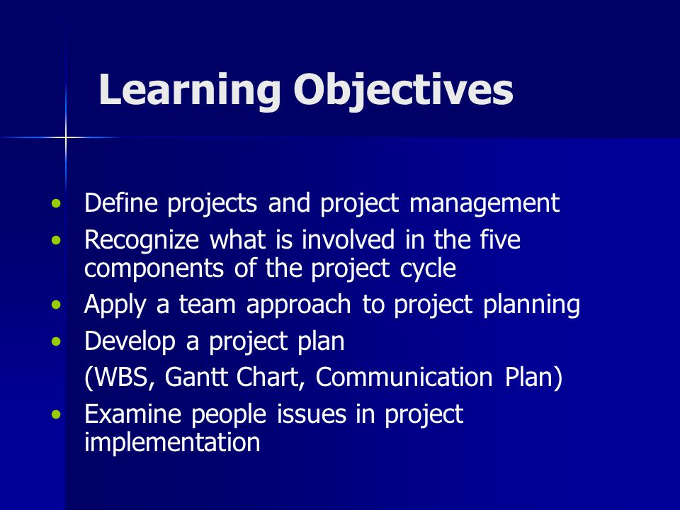 Learning Objectives Define projects and project management