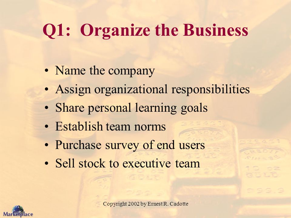 Q1: Organize the Business