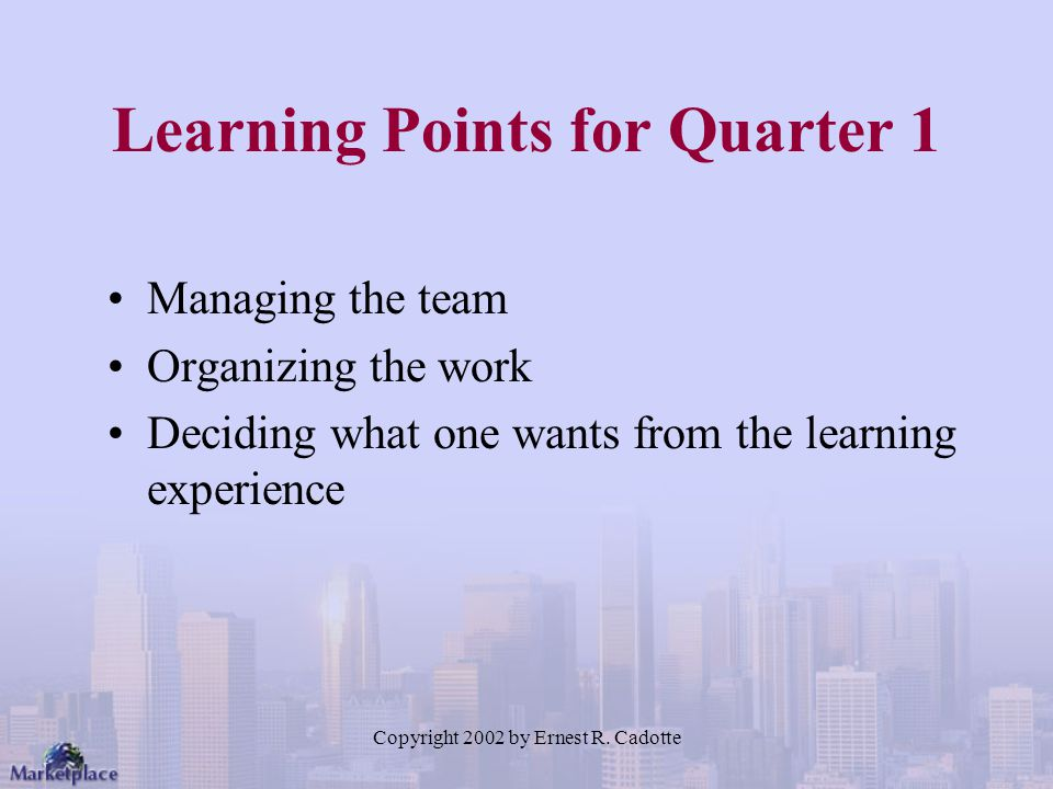 Learning Points for Quarter 1