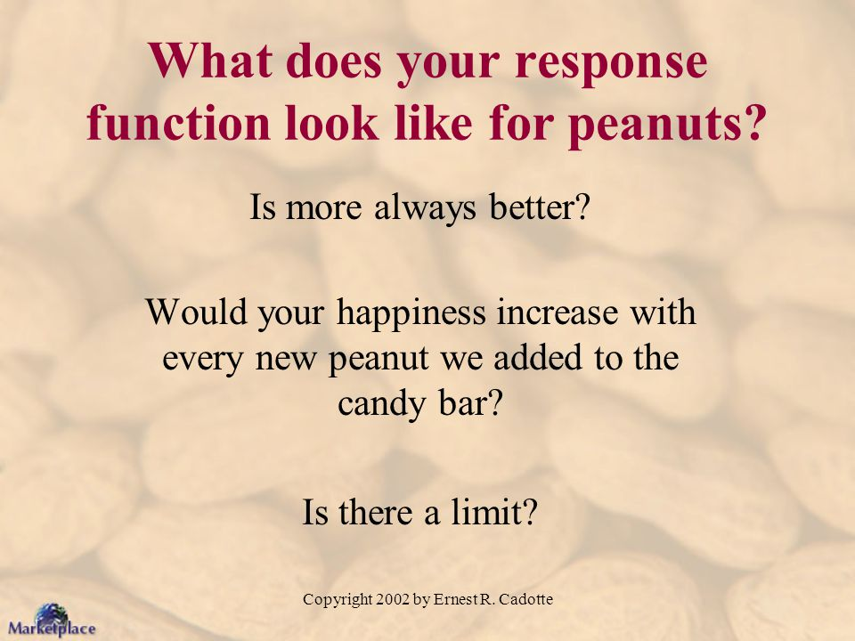 What does your response function look like for peanuts