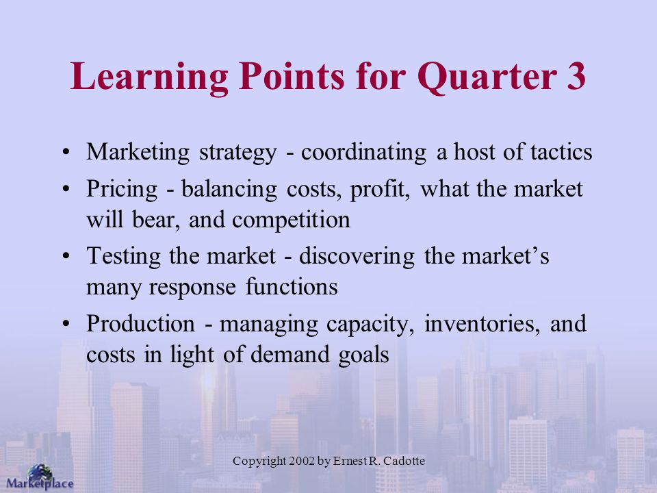Learning Points for Quarter 3