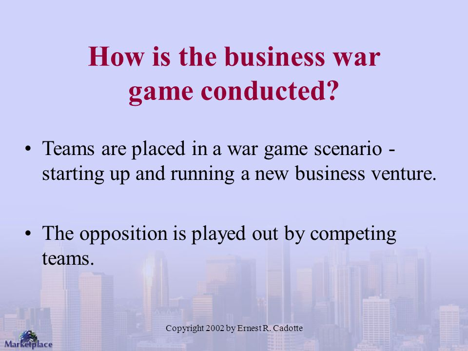 How is the business war game conducted