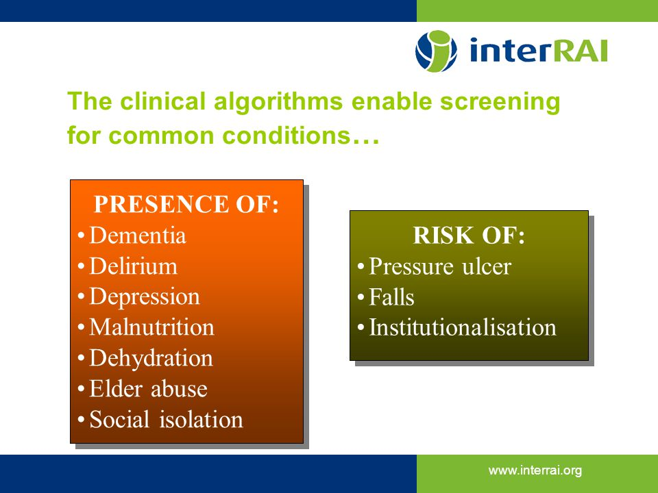 The clinical algorithms enable screening for common conditions…
