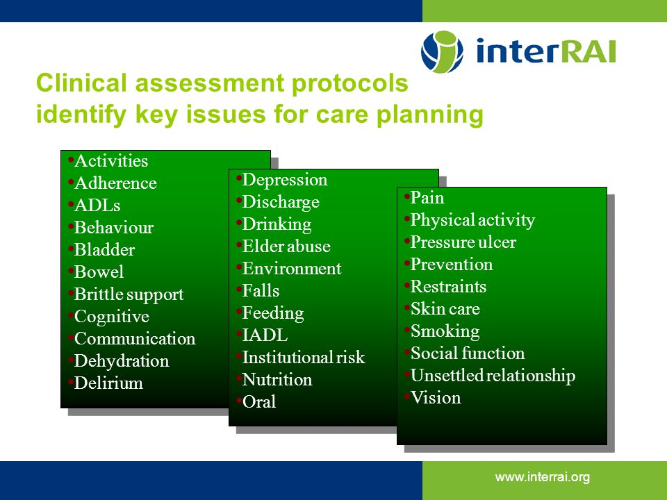 Clinical assessment protocols identify key issues for care planning