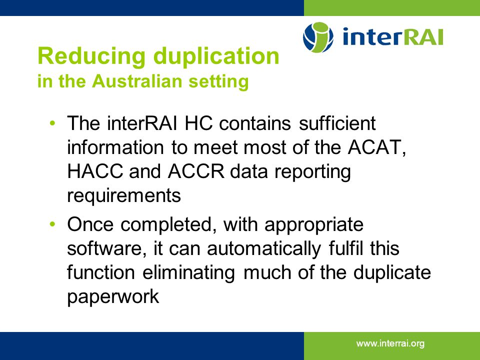 Reducing duplication in the Australian setting