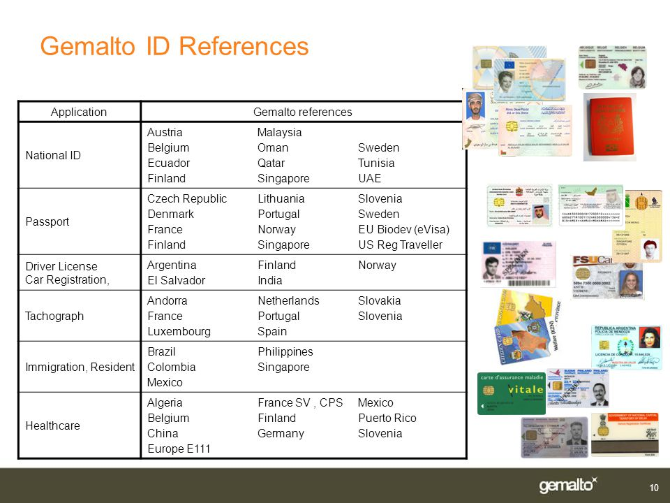 Gemalto ID References 08/08/06 Application Gemalto references