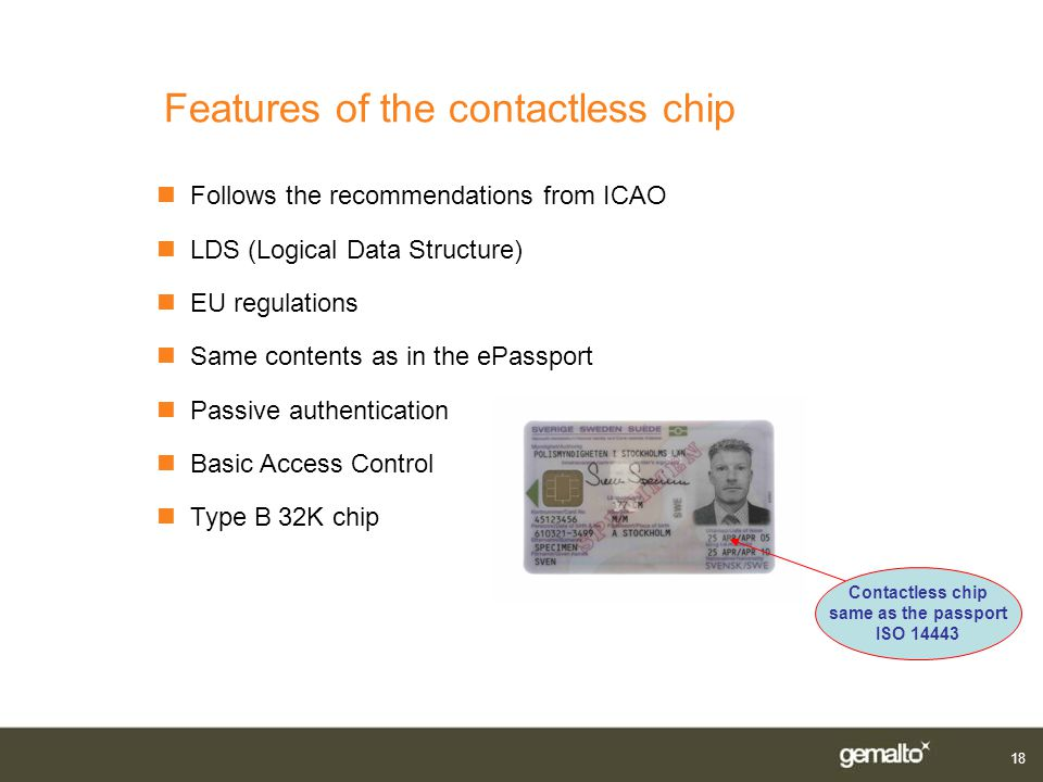 Features of the contactless chip