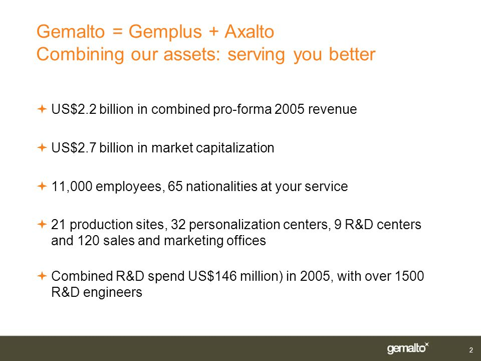 Gemalto = Gemplus + Axalto Combining our assets: serving you better