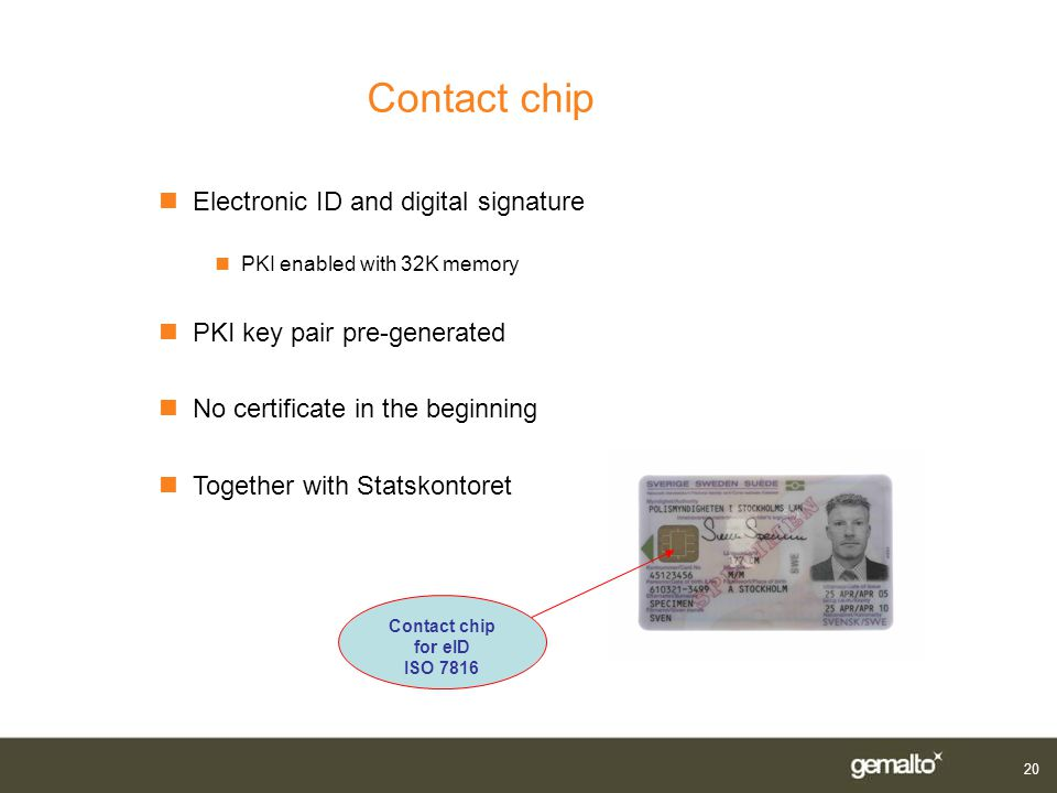 Contact chip Electronic ID and digital signature