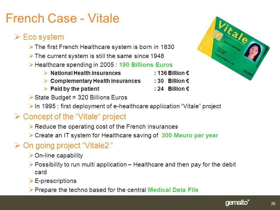 French Case - Vitale Eco system Concept of the Vitale project