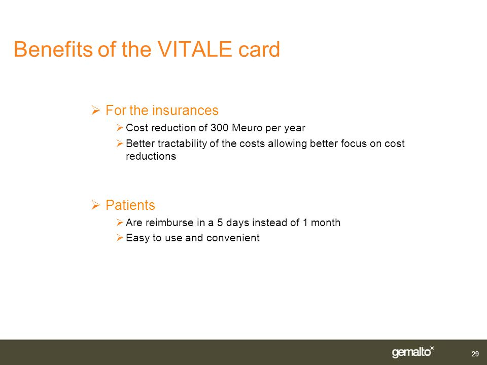 Benefits of the VITALE card