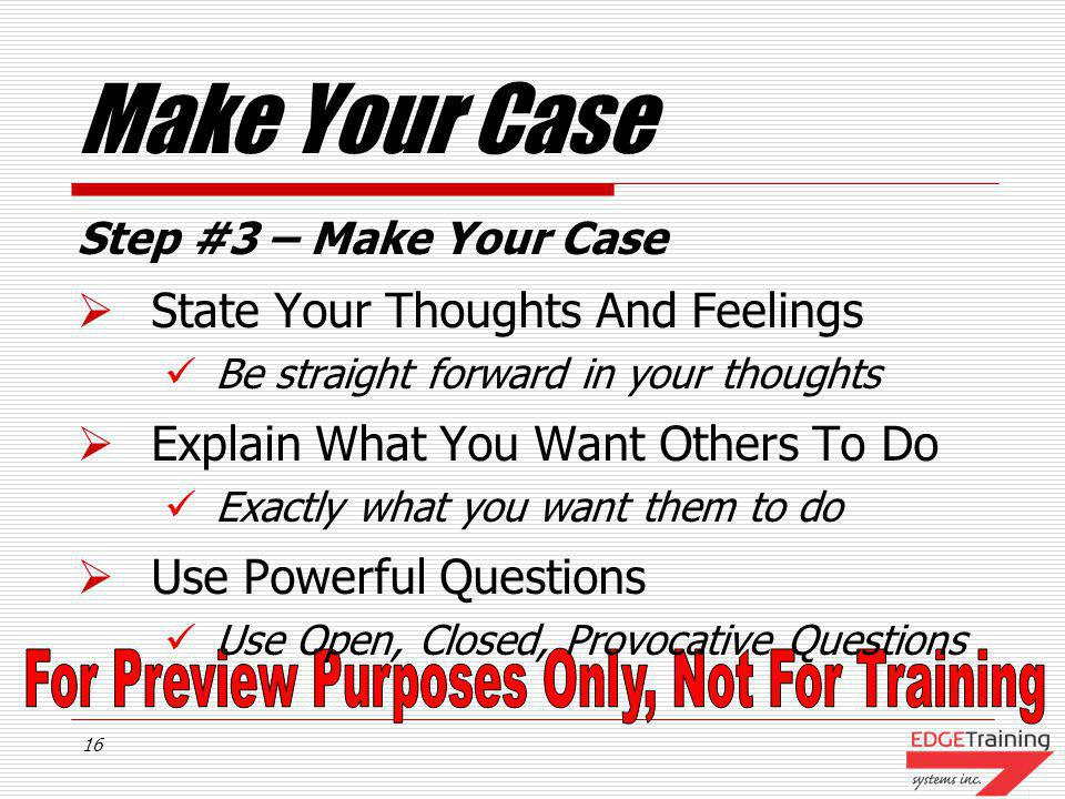 Make Your Case State Your Thoughts And Feelings