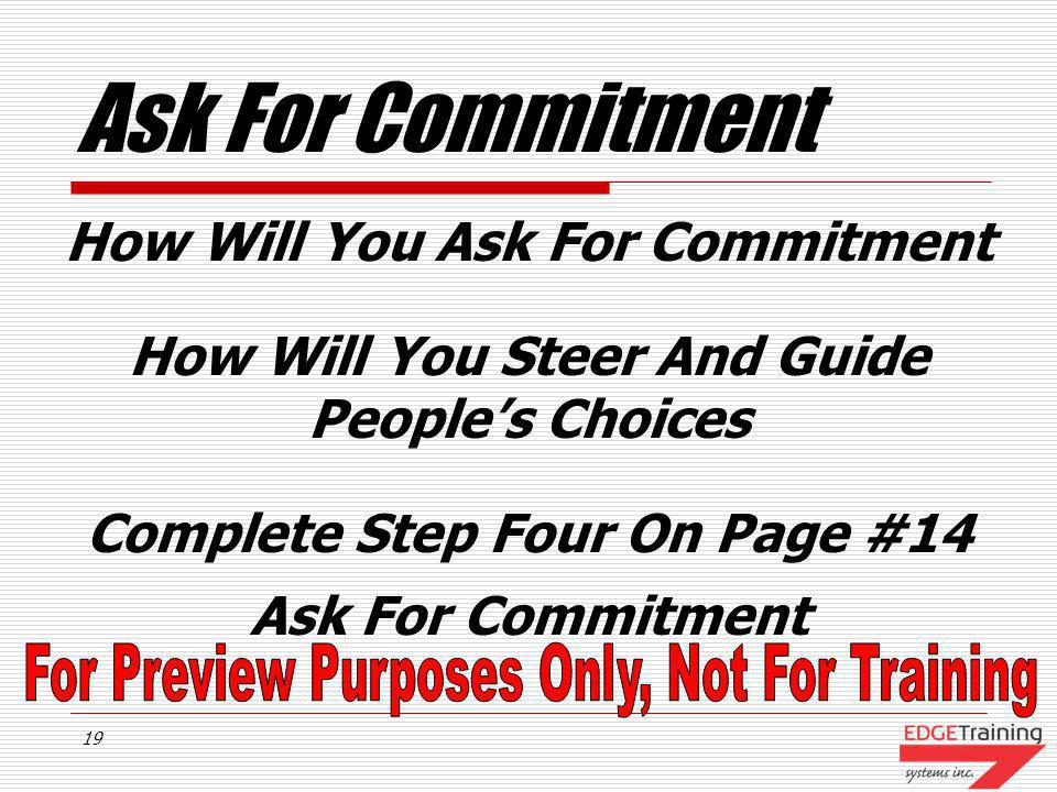 Ask For Commitment How Will You Ask For Commitment