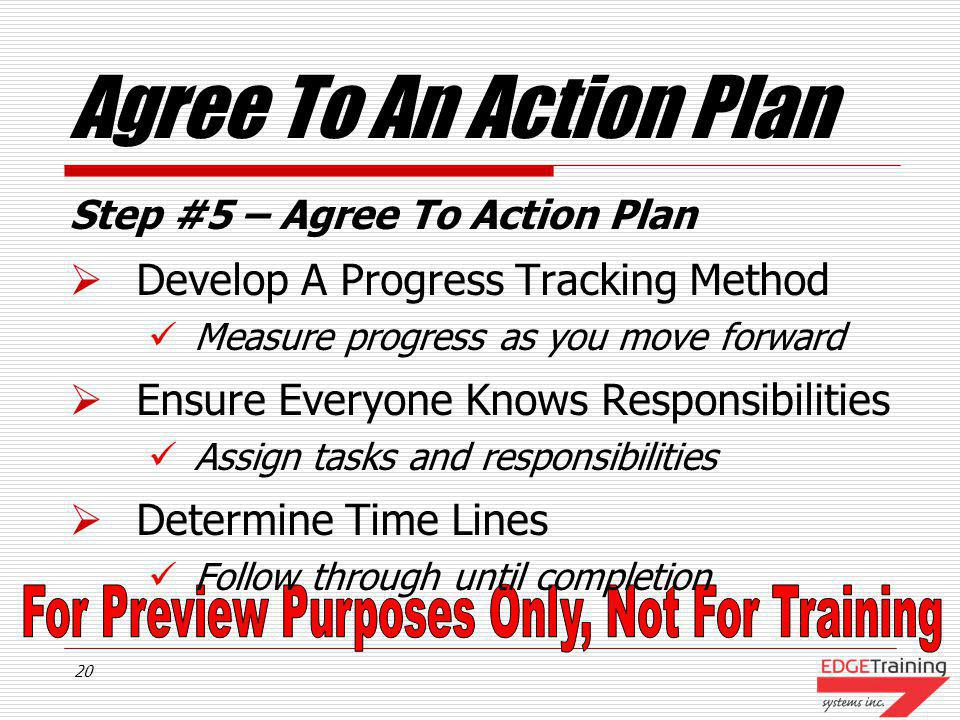Agree To An Action Plan Develop A Progress Tracking Method