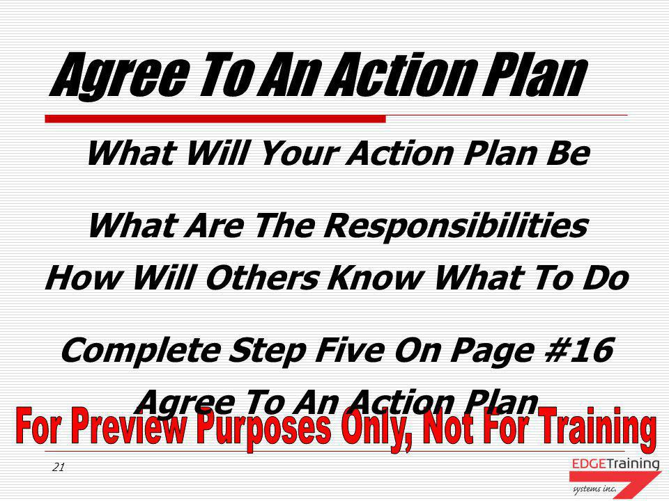 Agree To An Action Plan What Will Your Action Plan Be
