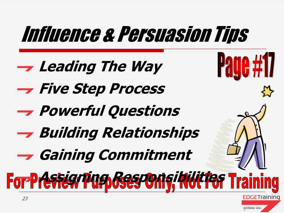 Influence & Persuasion Tips