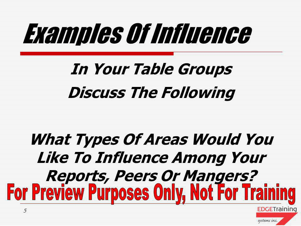 Examples Of Influence In Your Table Groups Discuss The Following
