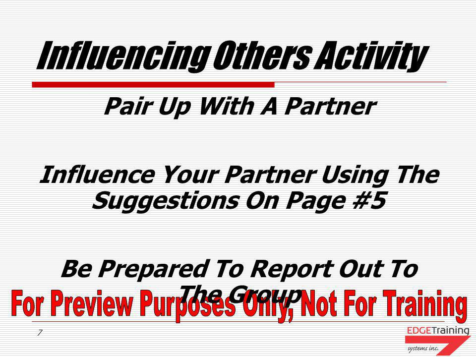 Influencing Others Activity