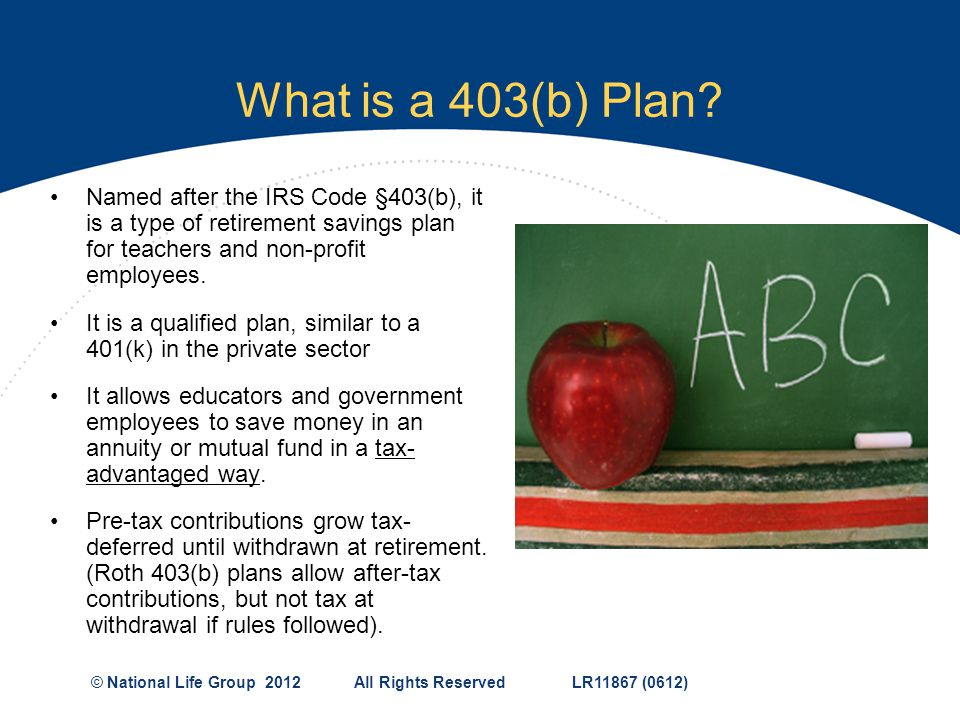 What is a 403(b) Plan Named after the IRS Code §403(b), it is a type of retirement savings plan for teachers and non-profit employees.