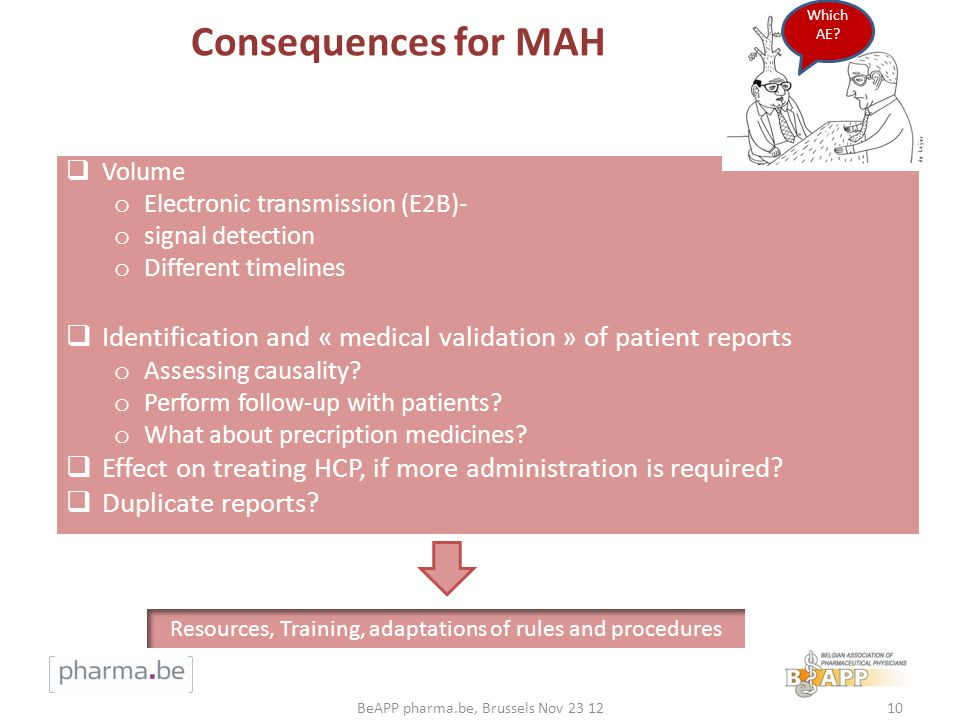 Consequences for MAH Which AE Which AE Volume. Electronic transmission (E2B)- signal detection.