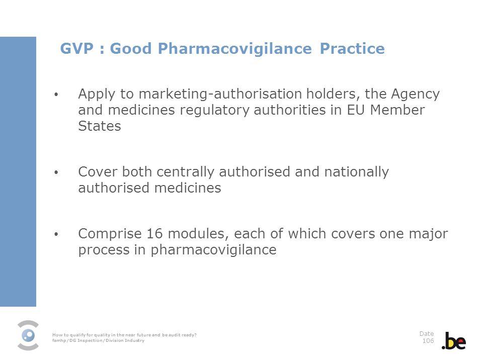 GVP : Good Pharmacovigilance Practice